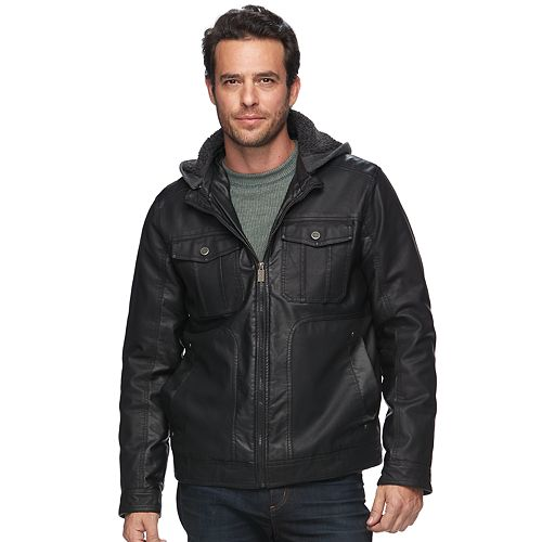 Men's Urban Republic Modern-Fit Faux-Leather Hooded Jacket