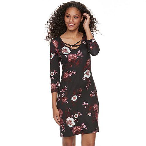 Juniors' Mudd® Cross Front Bodycon Dress