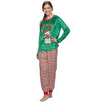Juniors' Peace, Love & Fashion 2-pc. Holiday Printed Sleep Set