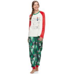 Juniors' Peace, Love & Fashion 2-pc. Holiday Printed Sleep Set