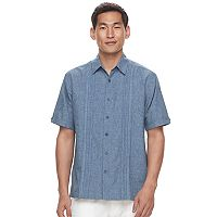 Men's Havanera Classic-Fit Chambray Embroidered Panel Button-Down Shirt