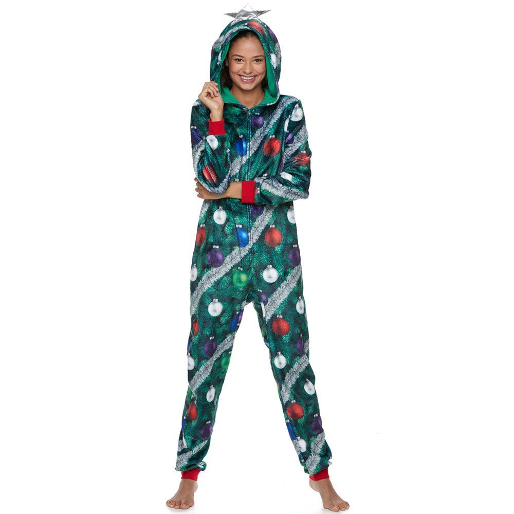 juniors peace love fashion ugly christmas tree costume one piece pajamas - Christmas Tree Costume