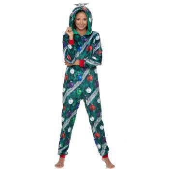 Juniors' Peace, Love & Fashion Ugly Christmas Tree Costume One-Piece Pajamas
