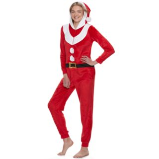 Juniors' Peace, Love & Fashion Santa Costume One-Piece Pajamas