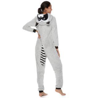Juniors' Peace, Love & Fashion Raccoon Costume One-Piece Pajamas