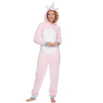 Juniors' Peace, Love & Fashion Unicorn Costume One-Piece Pajamas