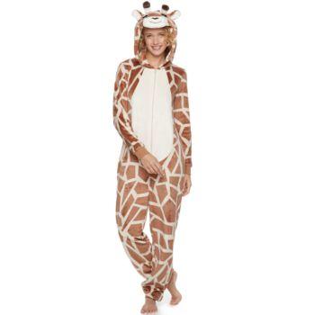 Juniors' Peace, Love & Fashion Giraffe Costume One-Piece Pajamas