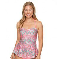 Women's Aqua Couture Waist Minimizer Geometric Bandeaukini Top