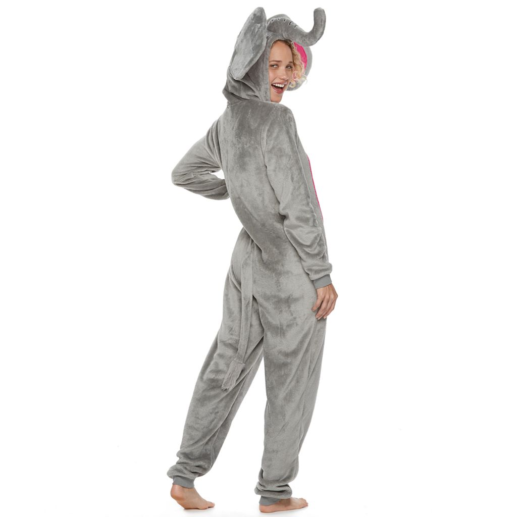 Juniors' Peace, Love & Fashion Elephant Costume One-Piece Pajamas