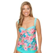 Women's Aqua Couture Bust Enhancer Floral Tankini Top