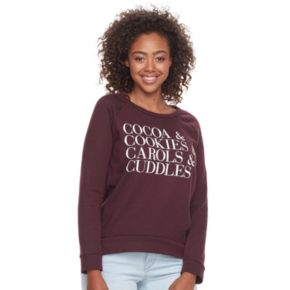 Junior's Hybrid Tees Cocoa & Cookies Pullover Sweatshirt