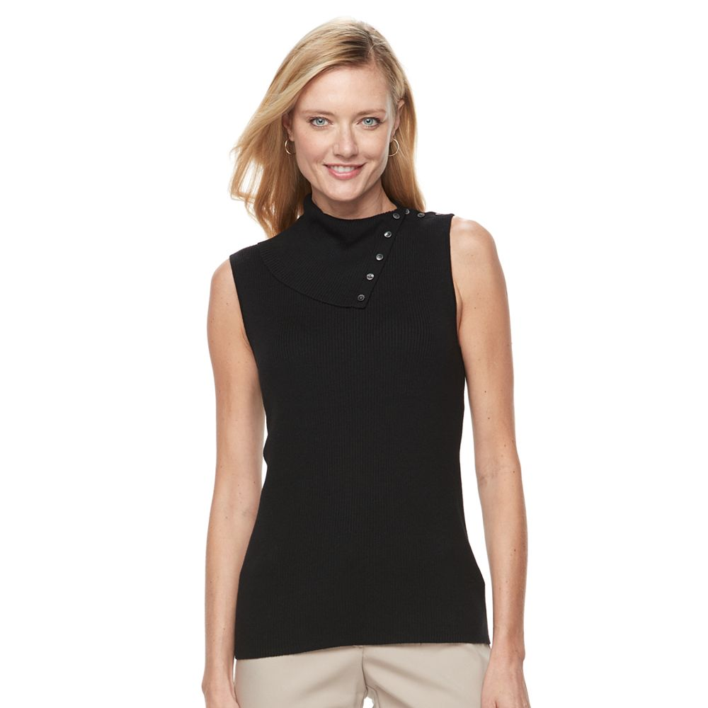 Croft & Barrow® Ribbed Sleeveless Turtleneck Top