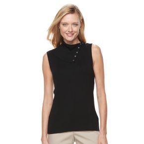 Women's Croft & Barrow® Ribbed Sleeveless Turtleneck Top