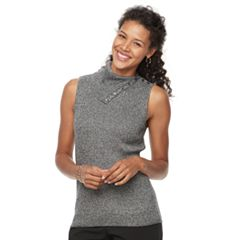 Women's Croft & Barrow® Ribbed Sleeveless Turtleneck Top