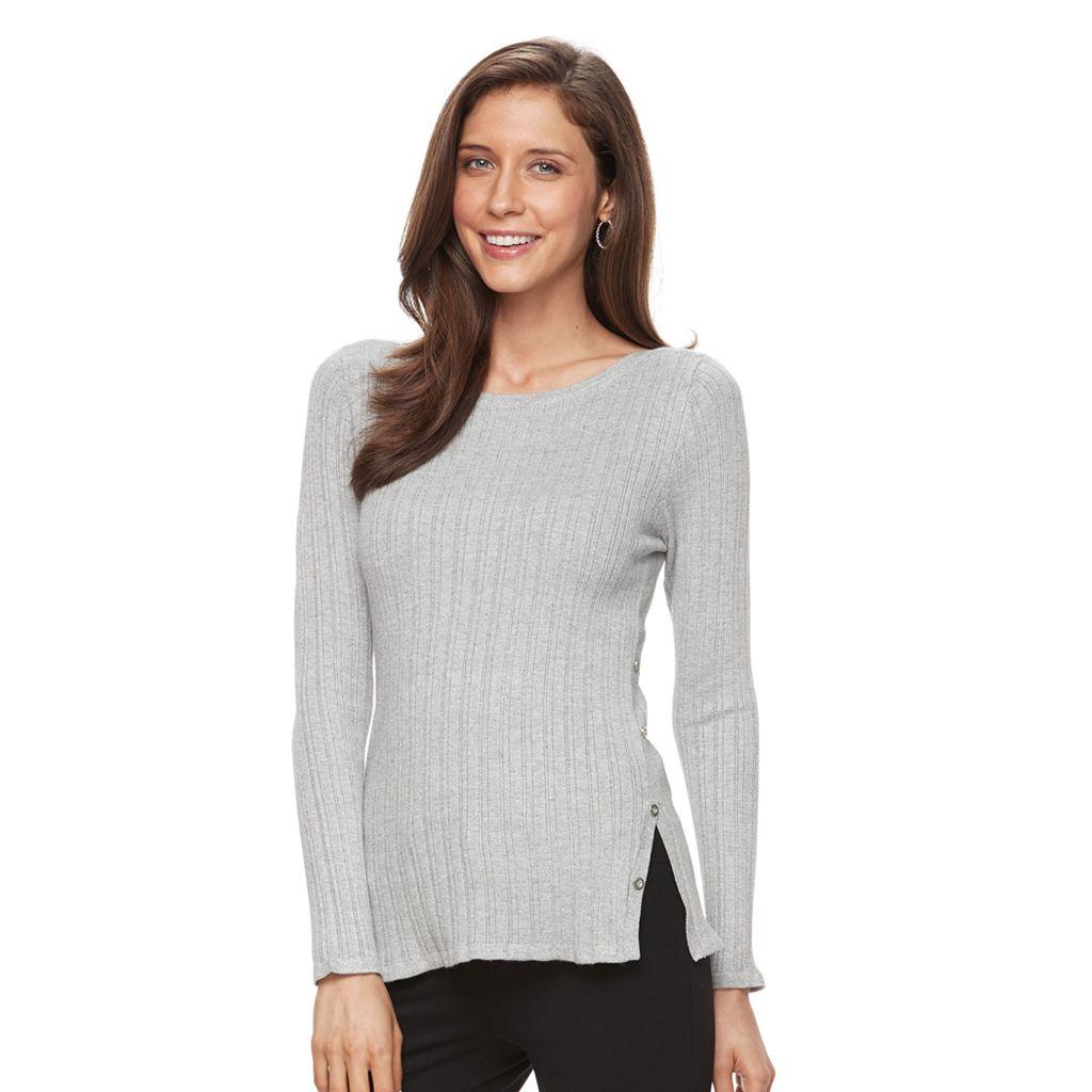 Women's Croft & Barrow® Button Side Long Sleeve Top