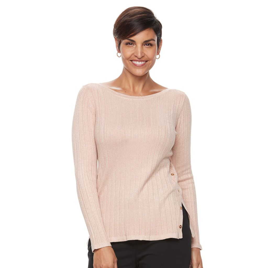 Women's Croft & Barrow® Button Side Long Sleeve Top