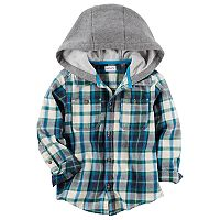 Toddler Boy Carter's Plaid Hooded Button Down Shirt