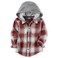 Toddler Boy Carter's Plaid Hooded Button Down Shirt