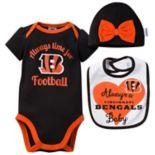 Baby Cincinnati Bengals Always Time for Football 3-Piece Bodysuit Set