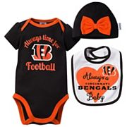 Baby Cincinnati Bengals Always Time for Football 3 pc Bodysuit Set