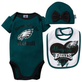 Baby Philadelphia Eagles Always Time for Football 3-Piece Bodysuit Set