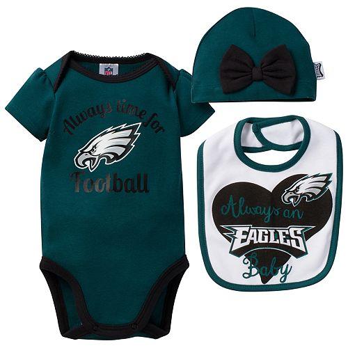 Baby Philadelphia Eagles Always Time for Football 3-Piece Bodysuit Set e4f1546b3