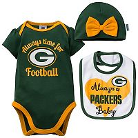 Baby Green Bay Packers Always Time for Football 3 pc Bodysuit Set
