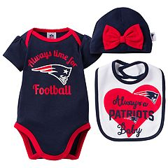 Baby New England Patriots Always Time for Football 3 pc Bodysuit Set