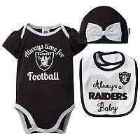 Baby Oakland Raiders Always Time for Football 3 pc Bodysuit Set