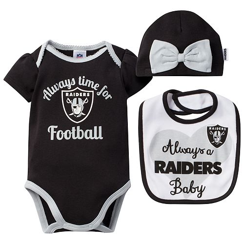 Baby Oakland Raiders Always Time for Football 3-Piece Bodysuit Set