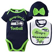 Baby Seattle Seahawks Always Time for Football 3 pc Bodysuit Set