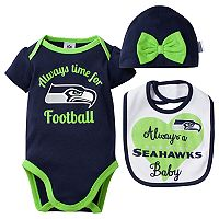 Baby Seattle Seahawks Always Time for Football 3-Piece Bodysuit Set