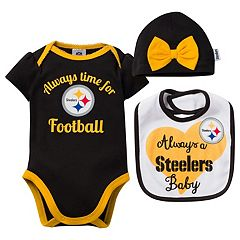 Baby Pittsburgh Steelers Always Time for Football 3 pc Bodysuit Set