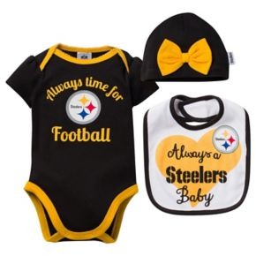 Baby Pittsburgh Steelers Always Time for Football 3-Piece Bodysuit Set