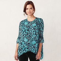 Women's LC Lauren Conrad Pintuck Shark-Bite Top