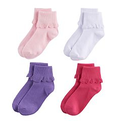 Girls 4-16 Elli by Capelli 4-pk. Scallop Trim Foldover Ankle Socks