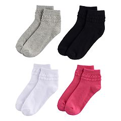 Girls 4-16 Elli by Capelli 4-pk. Bubble Trim Ankle Socks