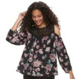 Juniors' Rewind Floral Lace Cold-Shoulder Top