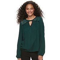Juniors' Rewind Lace Yoke Keyhole Top