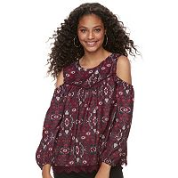 Juniors' Rewind Print Lace Hem Cold-Shoulder Top