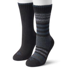 Women's Columbia 2-pk. Extended Size Striped Wool Blend Crew Socks
