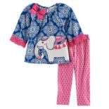 Baby Girl Rare Editions Elephant Applique Patterned Top & Leggings Set