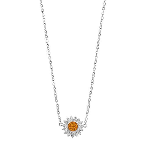 Silver Plated Crystal Flower Necklace