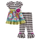 Baby Girl Rare Editions Multi-Patterned Top & Striped Leggings Set