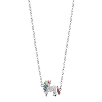Silver Plated Crystal Unicorn Necklace