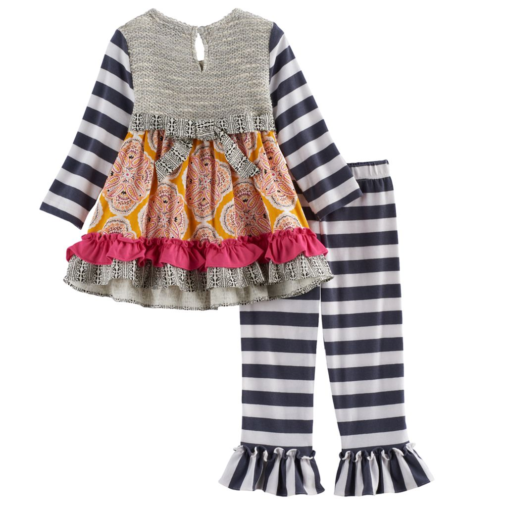 Baby Girl Rare Editions Knit Embellished Top & Striped Leggings Set