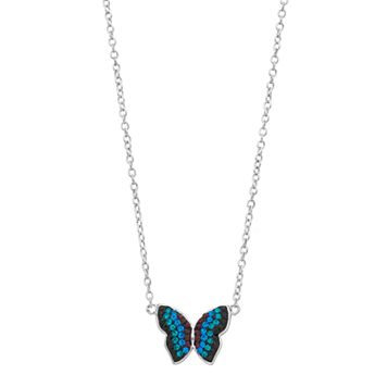 Silver Plated Crystal Butterfly Necklace