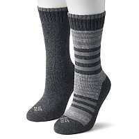 Women's Columbia 2-pk. Extended Size Striped Crew Socks