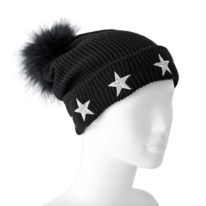 madden NYC Women's Embroidered Stars Pom Pom Beanie