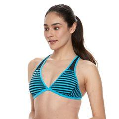 Women's Nike Striped Triangle Bikini Top